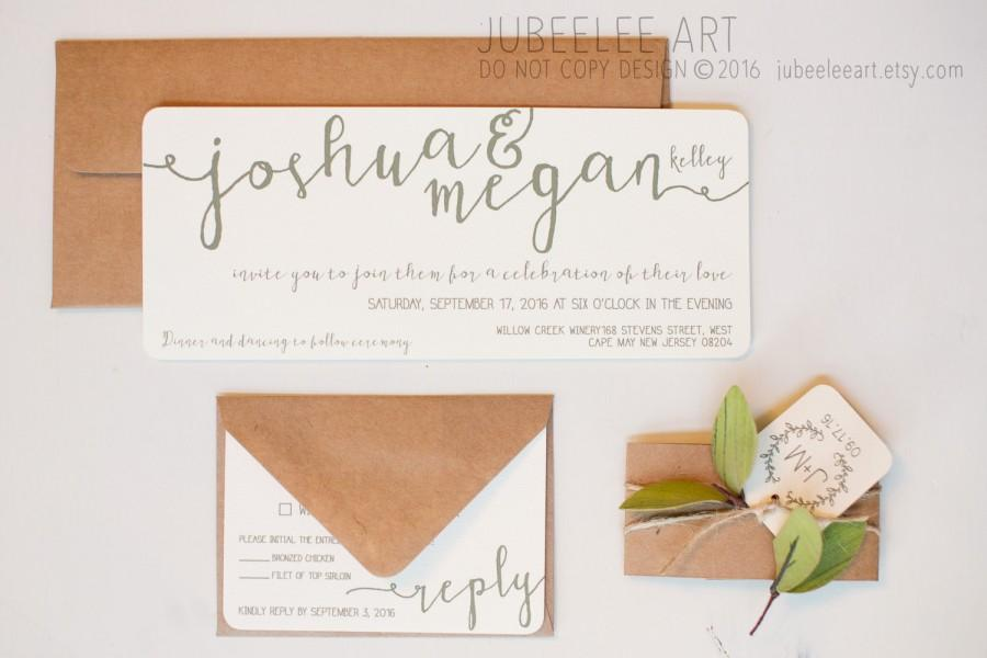 Wedding - Ivory and green modern calligraphy wedding invitation printable PDF template