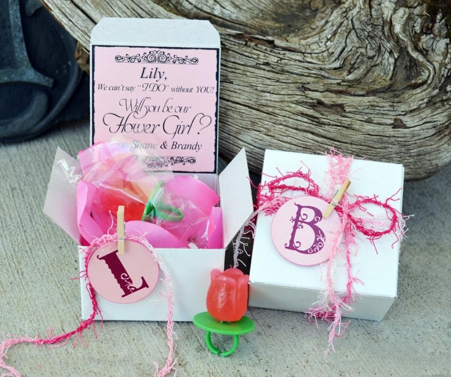 Will You Be My Flower Girl Ring POP Box PINK Invitation Bridesmaid