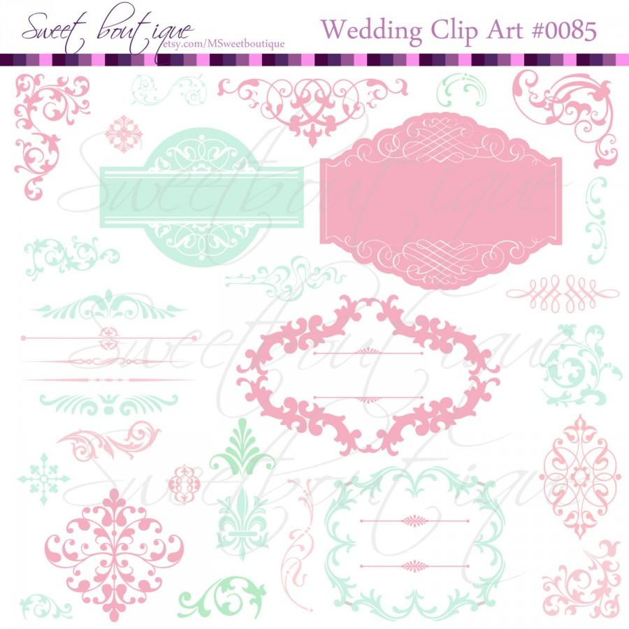 Mint Rose Wedding Digital Frames Clip Art Clipart Scrapbook Tags