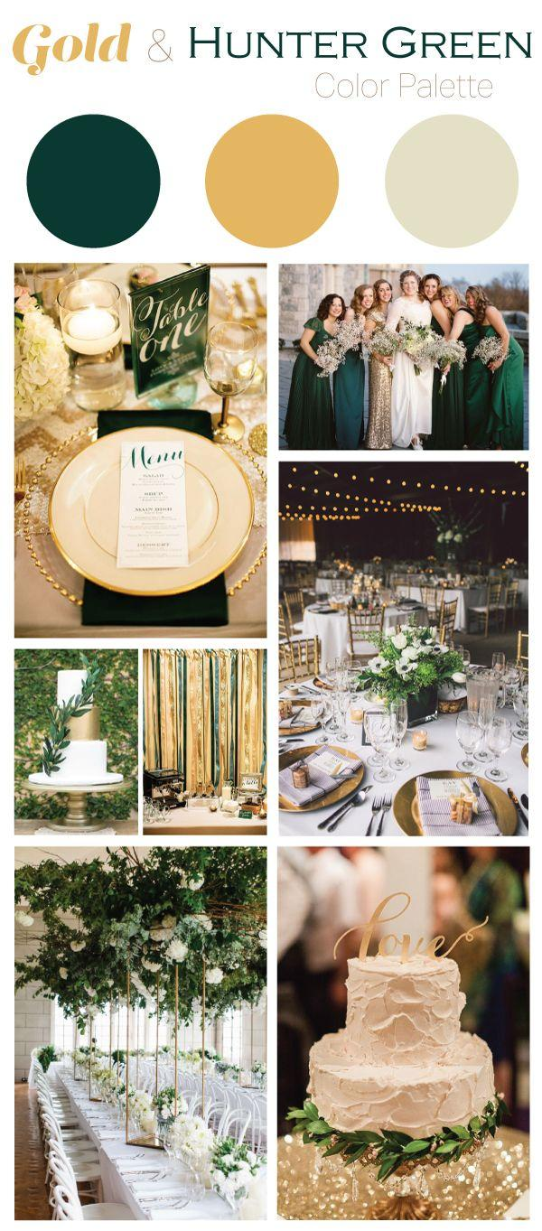 Gold And Hunter Green Wedding Color Palette