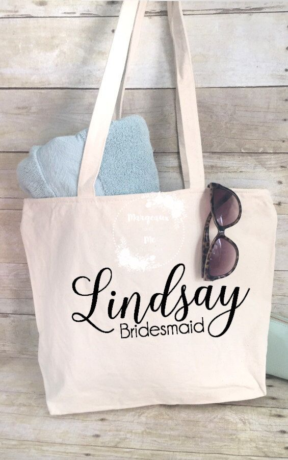 Tote Bag Personalized Maid Of Honor Bridesmaid Flower Canvas Bridal Party Gifts Beach Wedding