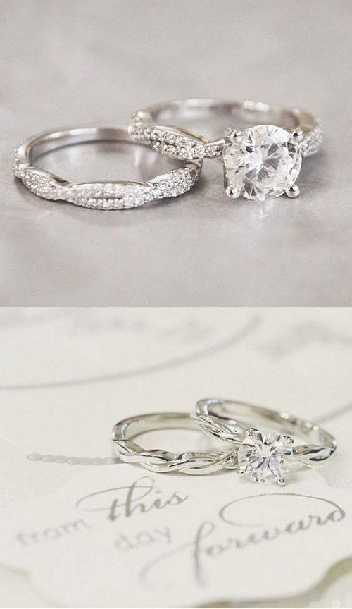 2016 trends twisted engagement rings wedding rings - Vintage Wedding Ring Set