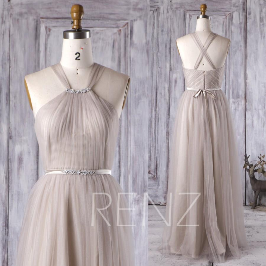 2016 light gray bridesmaid dress with beading long soft for Light grey wedding dress