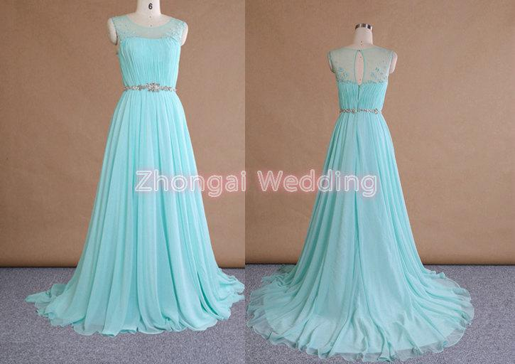Mariage - Long bridesmaid dress, evening dress, flower dress, chiffon dress, illusion boat neckline, pleats dress, sleeveless, beading belt, new dress