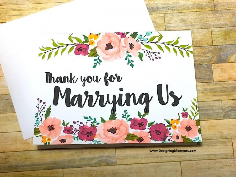 زفاف - Thank You For Marrying Us, Officiant, Priest, Rabbi, Wedding Planner Thank You Card, Floral Thank You Card, Wedding Thank You Card DM134