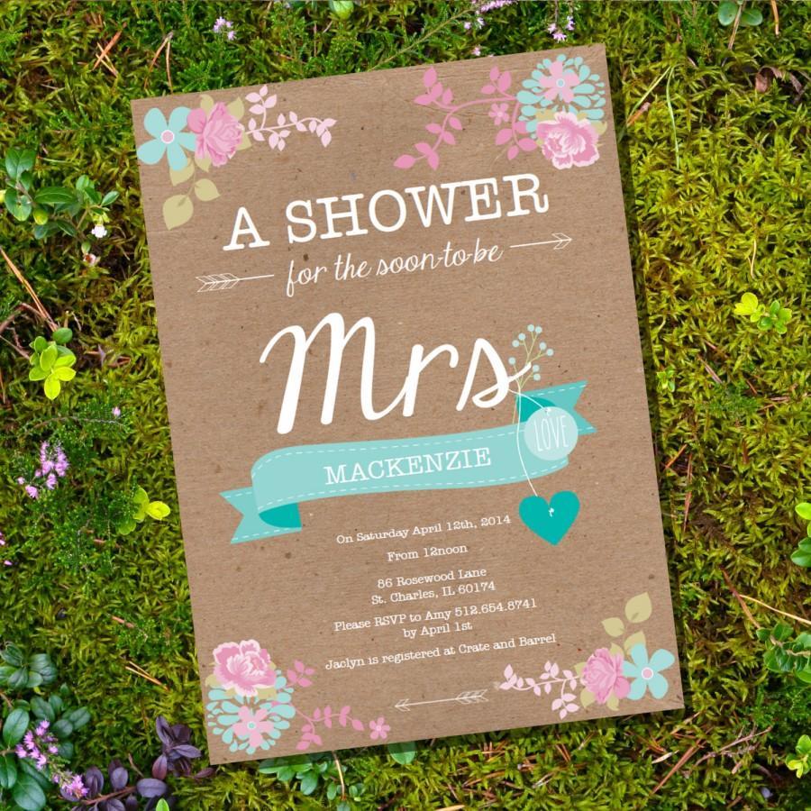 زفاف - Shabby Chic Craft Paper Floral Bridal Shower / Bachelorette Invitation -  Instant Download and Edit with Adobe Reader - Print at Home!