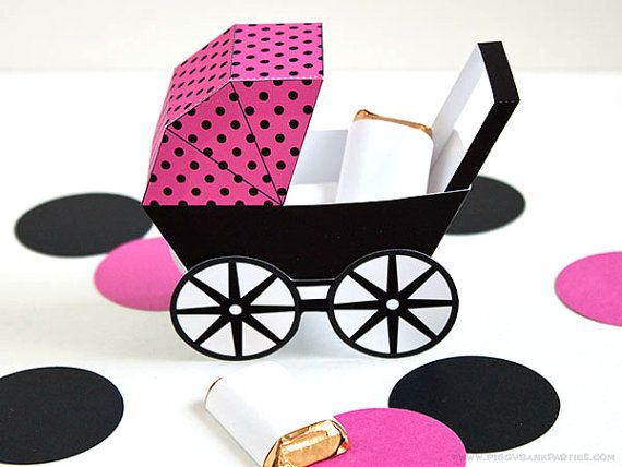 Wedding - Modern Baby Carriage Favor Box - Hot Pink & Black : DIY Printable Baby Buggy Gift Box