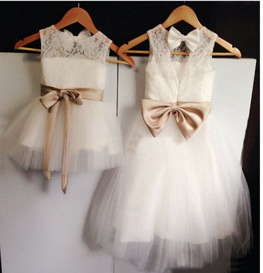 Düğün - Satin And Lace Flower Girl Dress With Bow
