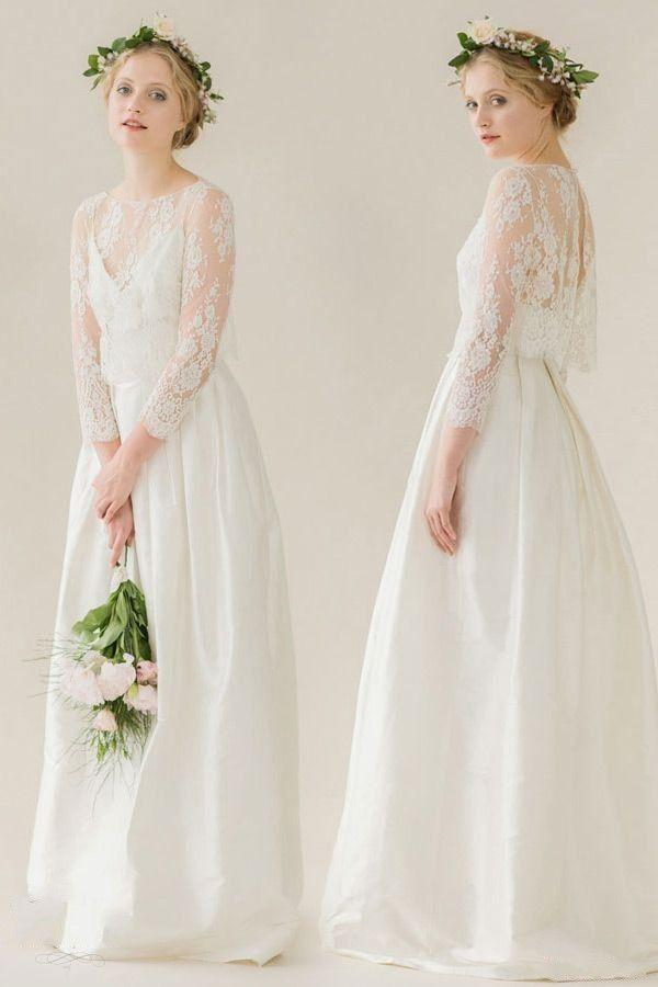 Mariage - Two Pieces Bridesmaid Dresses Three Quarter Sleeve A Line Floor Length Vestidos Applique Lace Taffeta Long Bridesmaid 2015-in Bridesmaid Dresses From Weddings & Events On Aliexpress.com