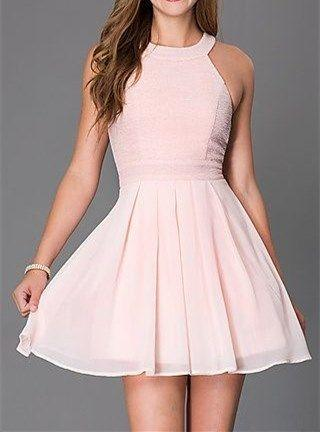 زفاف - Cute Short Homecoming Dress,Blush Pink Sleeveless Short Cocktail Dress,Halter Sexy Homecoming Dress,Chiffon Party Dress From LovePromDresses