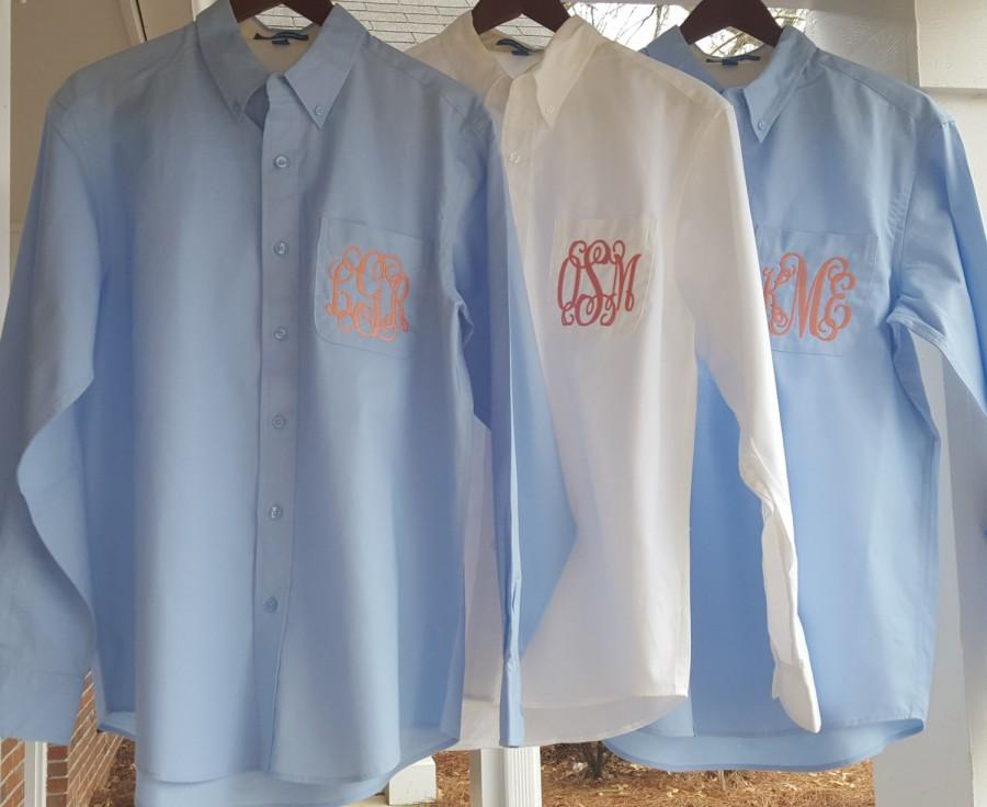 9bcfdd1b8a0 Set of 8 Personalized Bride and Bridesmaids Button Down Shirts - Monogrammed  Oversized Shirts