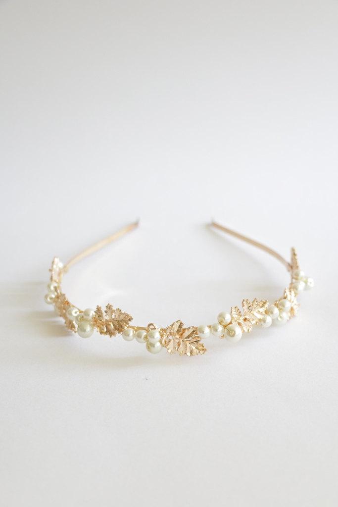 Mariage - Gold leaf & pearl head band, bridal bridesmaid hair accessories, minimalist romantic delicate autumn country wedding , boho chic, OOAK