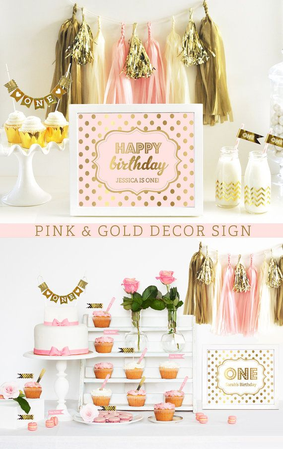 Wedding - Pink And Gold Sign - Happy Birthday Sign - Pink And Gold Birthday Decor Ideas - Pink Birthday Party (EB3058FY) - Printed SIGN ONLY
