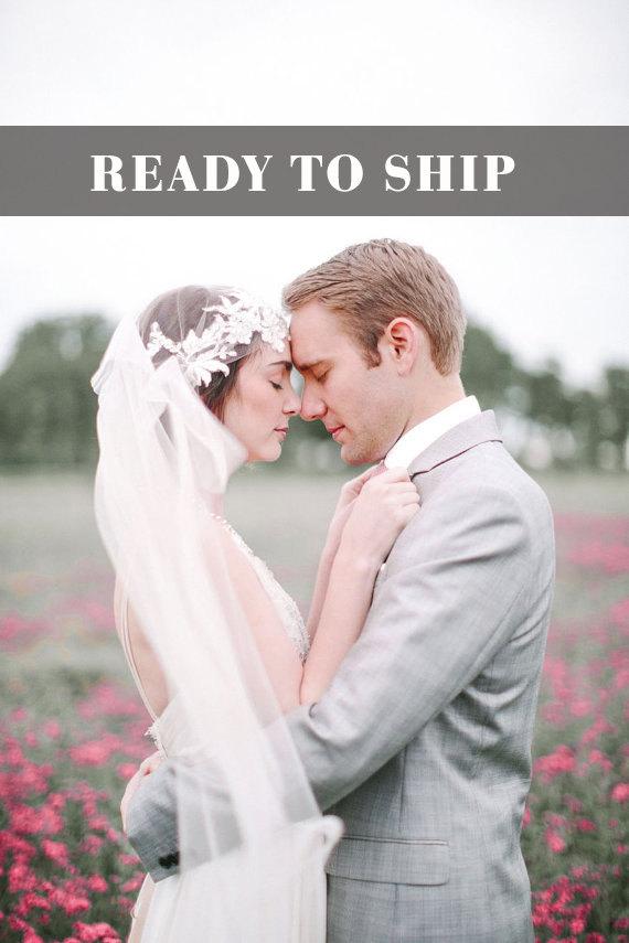 زفاف - SALE, Champagme Art Deco Cap Veil, Great Gatsby Veil, Lace Cap Veil, Vintage Veil, 1920 wedding veil, Tulle Veil, Juliet Veil, Wedding Veil