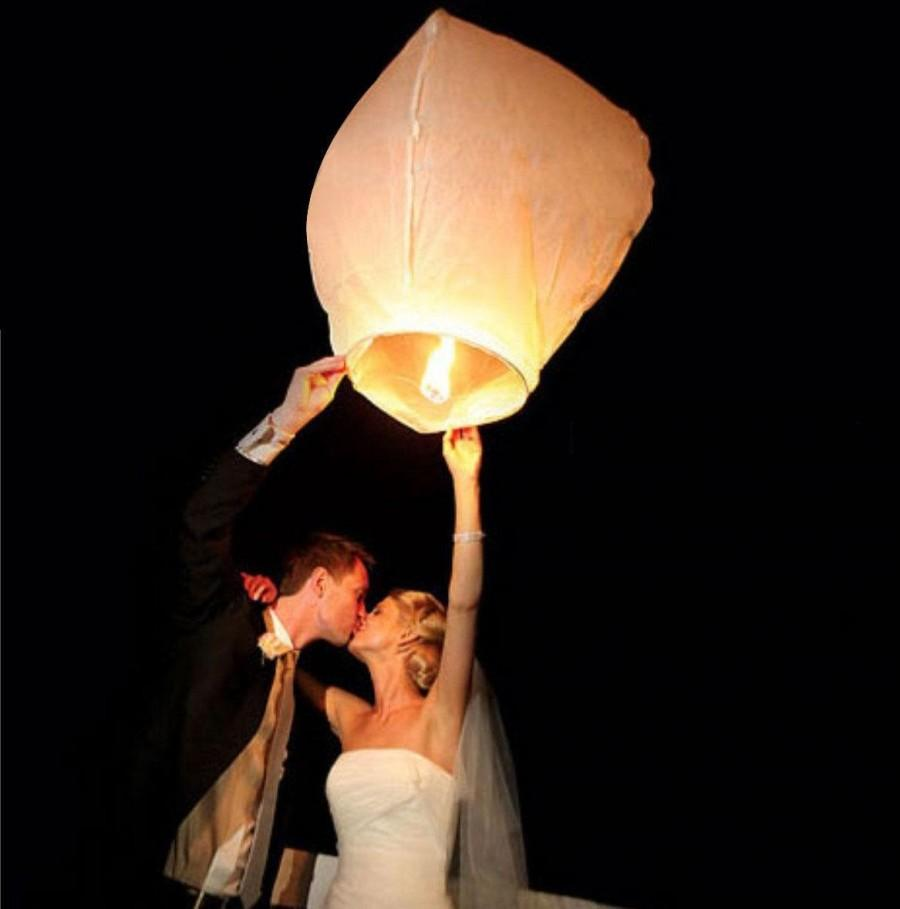 Düğün - 10 Pieces - White Handmade Write-able Chinese Paper Sky Lanterns Wish & Hope Kongming Wishing Flying Candle For Wedding Decoration