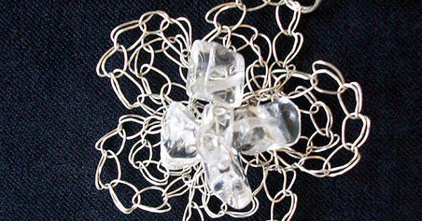Mariage - Pendant Flower made of Rock Crystal Necklace Crochet Jewelry Wire Lace Suspension Silver color with Natural Stone