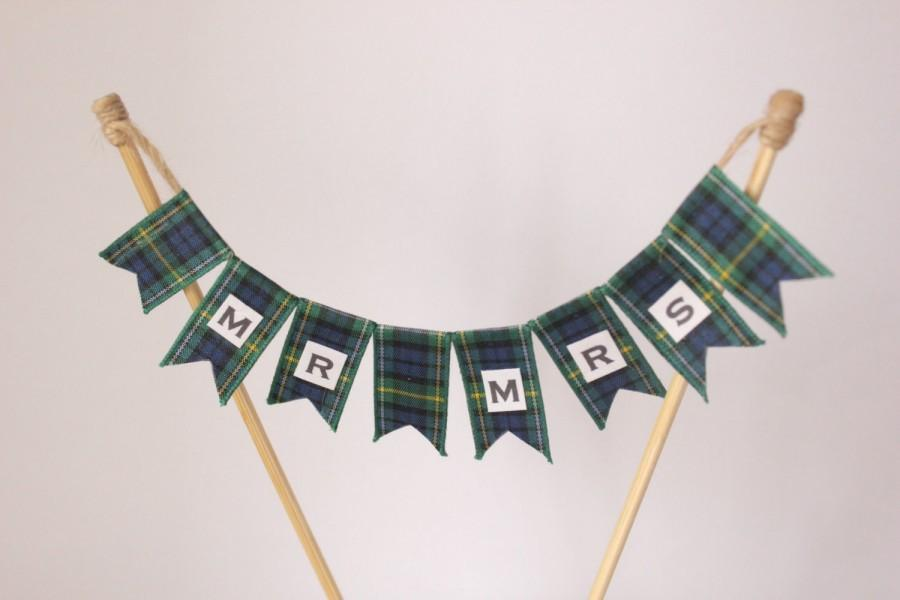 Wedding Cake Topper For 4 Inch Cake Top Tier Mr And Mrs Campbell Tartan Cake Bunting For Scottish Wedding Cake Banner Cake Flags