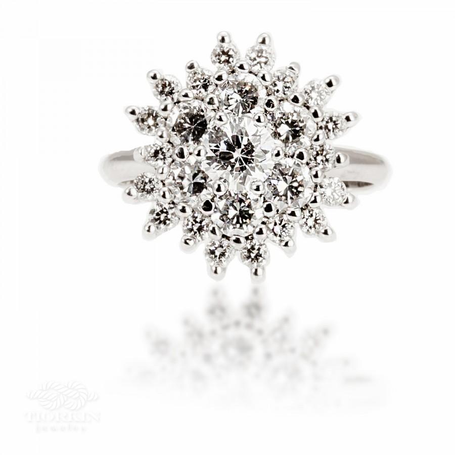 Wedding - Diana, Engagement Ring, Unique Engagement Ring, Vintage Engagement Ring, Antique  Engagement Ring, Cluster Diamond Engagement Ring, 1.75 ct