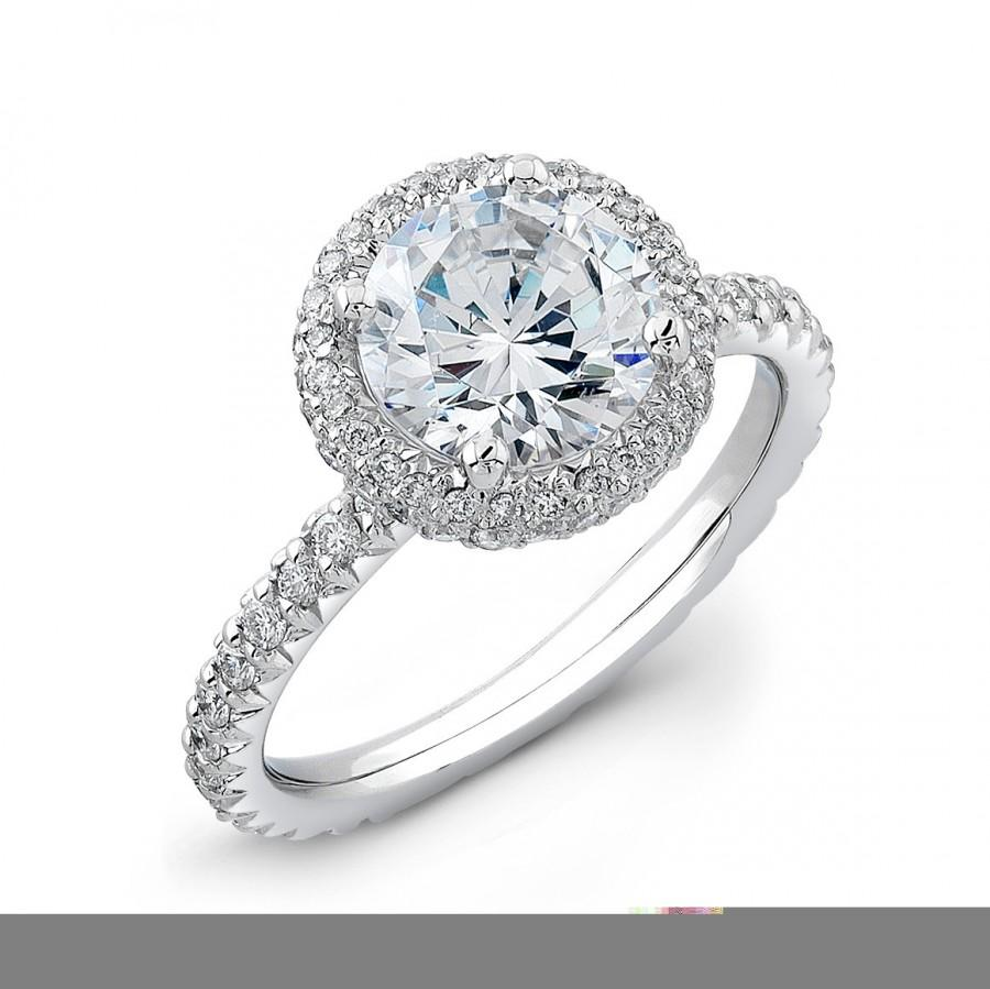 Ladies 14kt French Pave Diamond Halo Engagement Ring 033 Ctw With 150ct  Natural Round White Sapphire