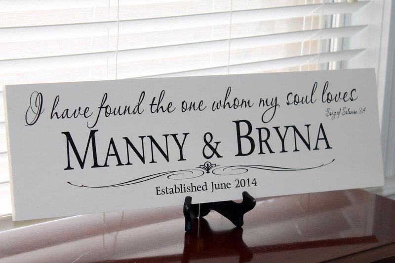 Mariage - I Found The One My Soul Loves Wedding Name Sign, Couple Gift Wedding, Personalized Family Name Sign, Weddings Decoration Established Sign,