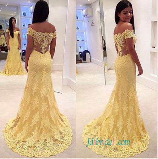 Mariage - Sexy illusion lace back off shoulder yellow lace prom dress