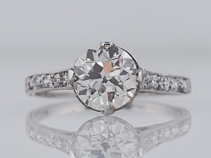 Wedding - Antique Engagement Ring Art Deco 1.33 Old European Cut Diamond in Platinum