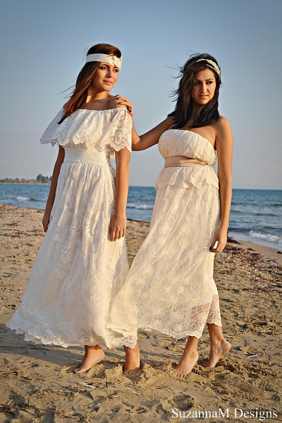 Bohemian Beach Long. Boho Wedding Dress Ivory Wedding Dress Lace Wedding 0f2dbf4d1870