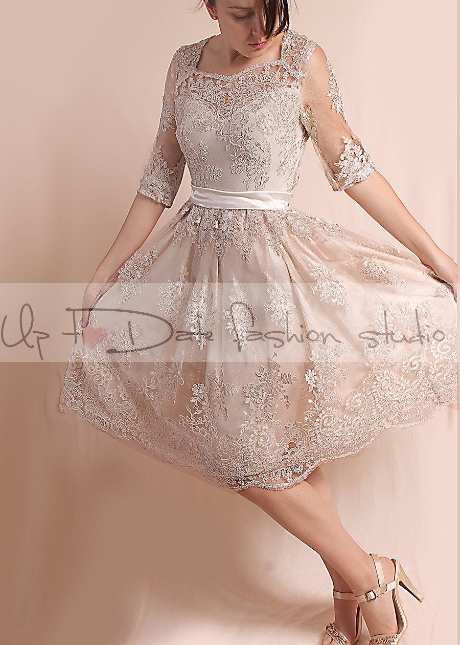 Свадьба - Plus Size ekryu party /evening /Cocktail /  lace dress/ knee length/ romantic dress