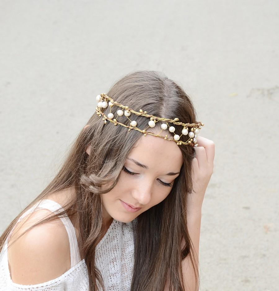 زفاف - Boho, Princess Viking Crown, bridal pearl crown,bridal tiara, bridal halo, bridal headpiece,rustic, woodland, wedding pearl headband