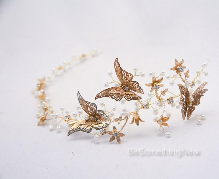 زفاف - Rustic Gold Hair Vine of Metal Butterflies and Flowers, Beaded Woodland Wedding Hair Halo Flower Crown Boho Wedding Bridal Hair Wreath