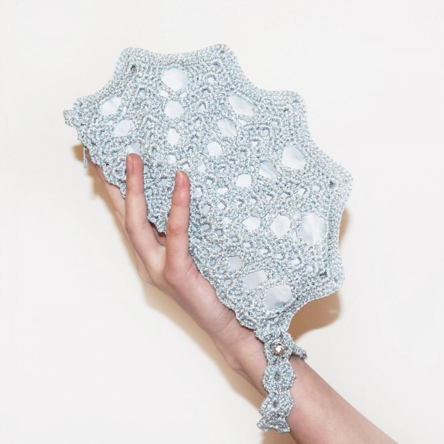 زفاف - Ice Blue Metallic Wristlet Clutch, Crochet Purse with Strap, Something Blue Wedding Bag, Bride Bag, Winter Wedding Clutch Bag, MORE COLORS