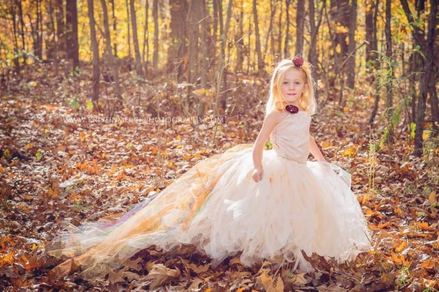 fall flower girl dress autumn dress champagne dress with color accented train perfect for. Black Bedroom Furniture Sets. Home Design Ideas