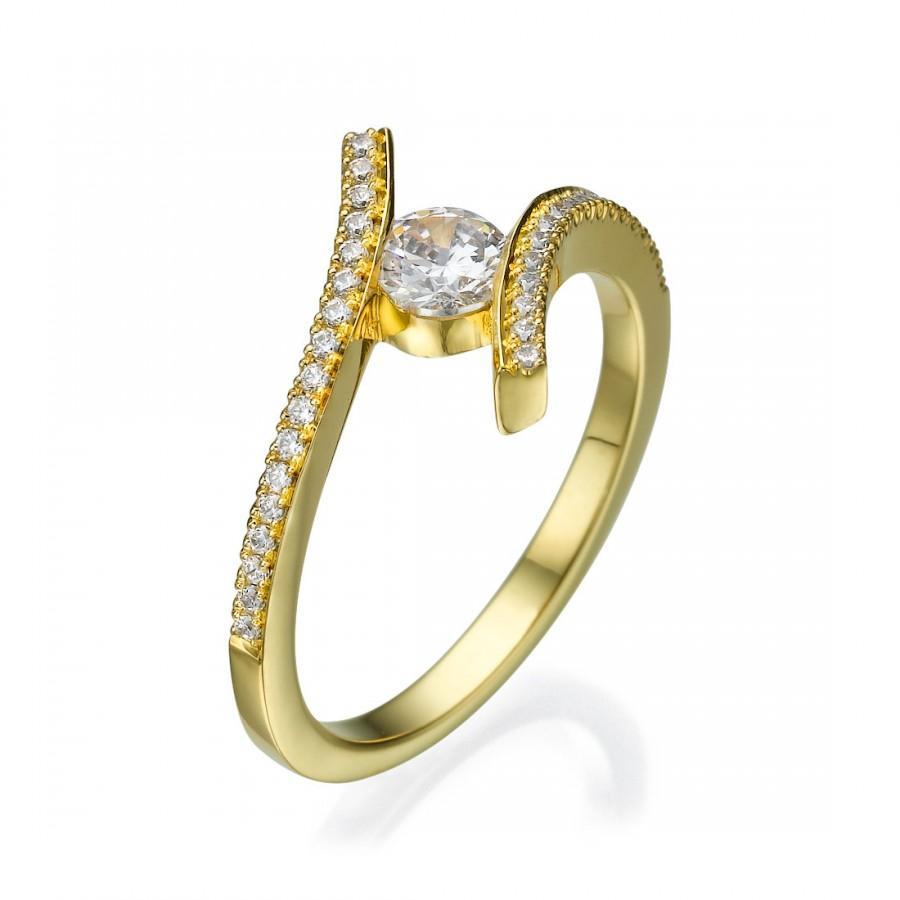 Engagement Ring Engagement Gift Diamond Ring White Gold Yellow