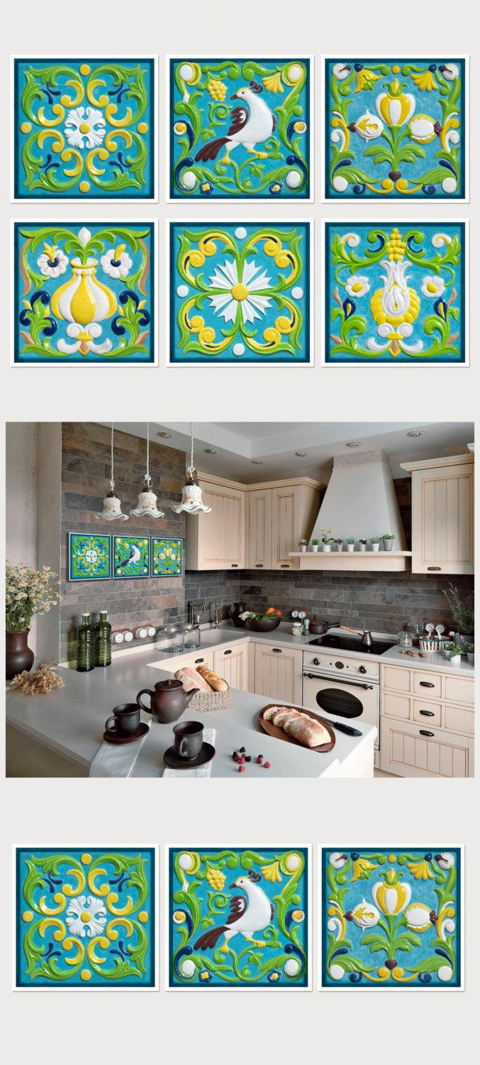 Tile Art Photography Set Of 6 Prints Kitchen Decor Square Wall Blue And Green