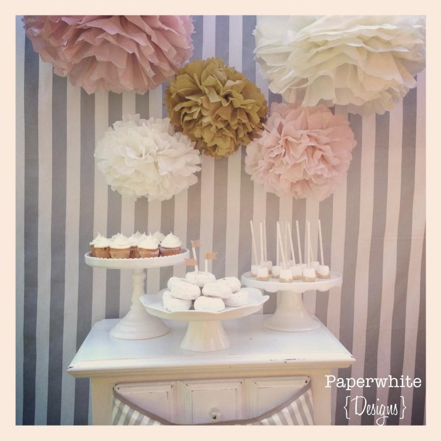Wedding - Tissue paper pompoms, baby shower decorations, farmhouse style wedding, vintage wedding, girl baby shower decorations, bridal shower, pompom