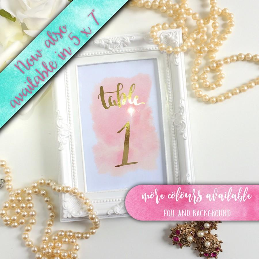 Gold Foil Table Numbers Printed Watercolour Background Silver Rose Foiled Christening 4 X 6 Or 5 7 Inch