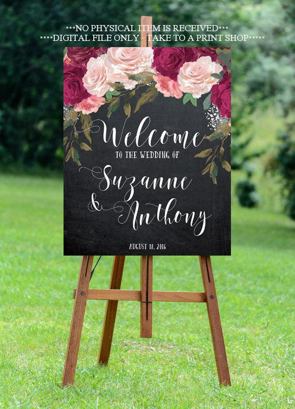 Wedding - burgundy wedding sign, burgundy welcome sign, welcome wedding sign, digital wedding sign, chalkboard welcome sign, 8x10, 16x20, 18x24, 24x30