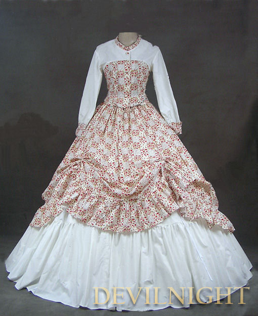 Wedding - White and Floral Pattern Classic Rococo Victorian Dress
