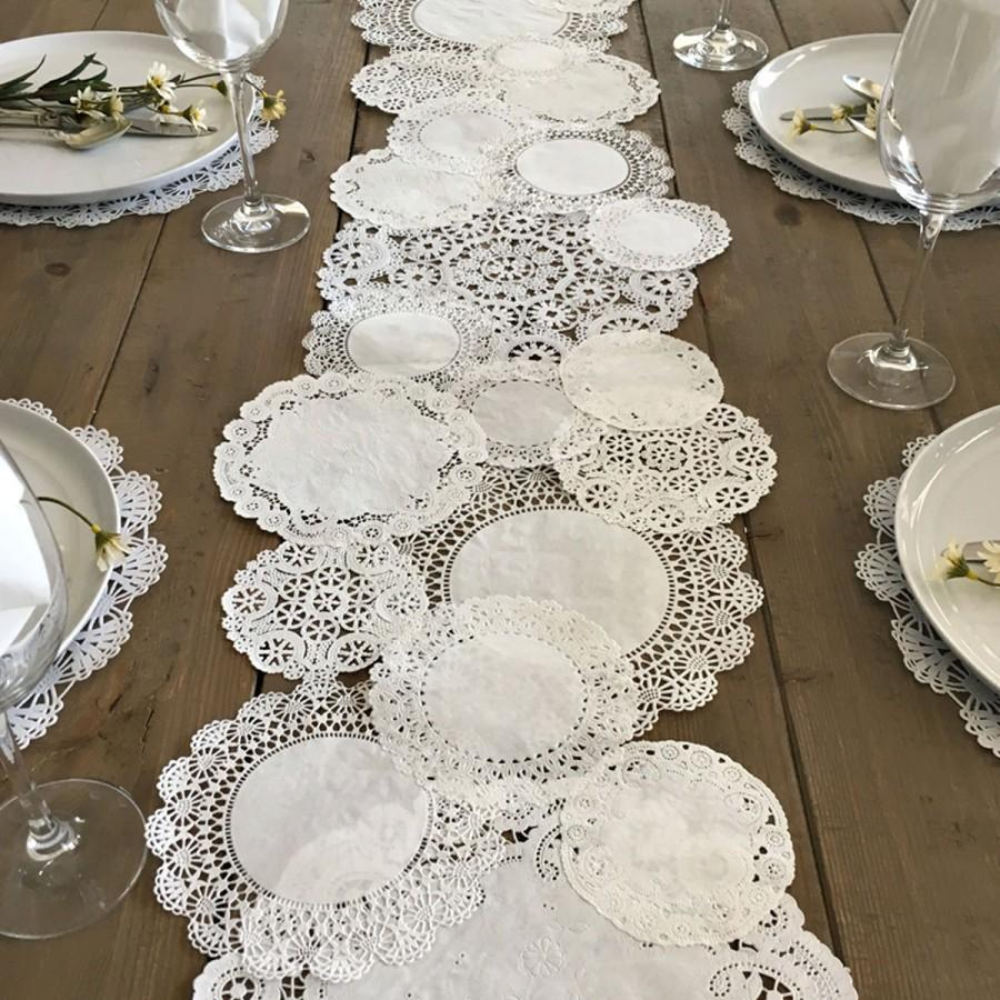 Prettie Table Runner Shabby Rustic Paper Doilies Diy Weddings Parties Decor Tablescape Decoration