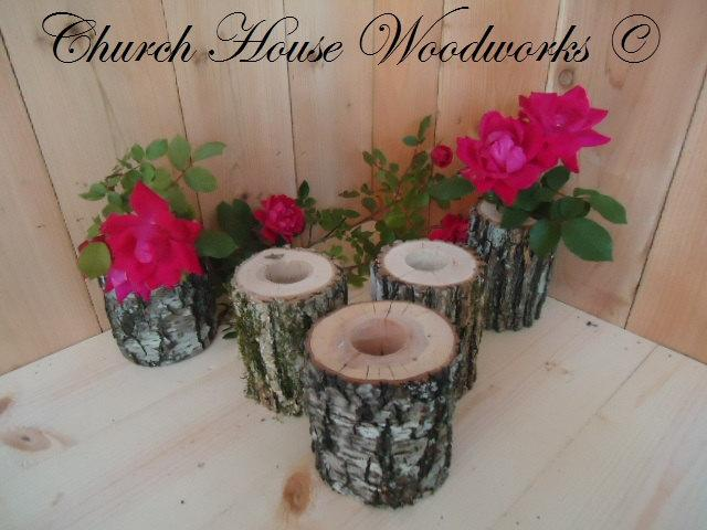 Hochzeit - 5 qty Tree Branch Vase, Log Flower Holder, for Rustic Weddings, Country Weddings, Rustic Center Piece