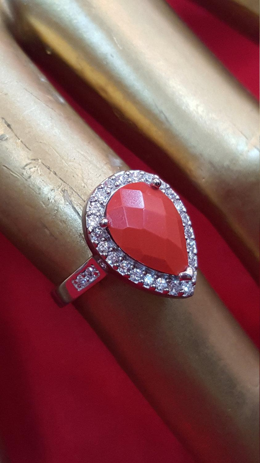 Mariage - Sterling Silvet Ring.925 Stamped.Genuine Faceted Red Coral Ring.Diamond Man made Ring.Promise Ring.Handmade Ring.R321