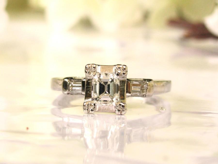 Art Deco Emerald Cut Engagement Ring 0 58ctw Diamond Vintage