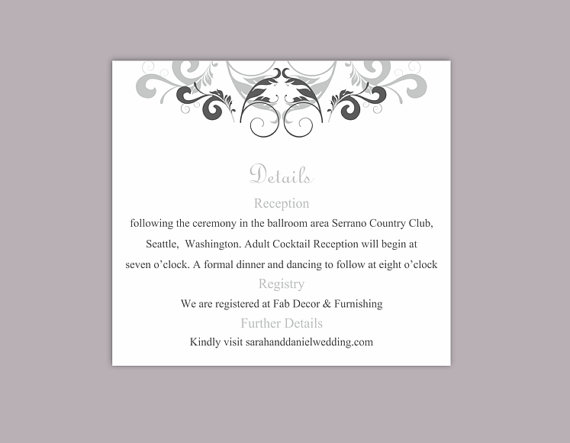 Wedding - DIY Wedding Details Card Template Editable Text Word File Download Printable Details Card Gray Silver Details Card Elegant Information Cards