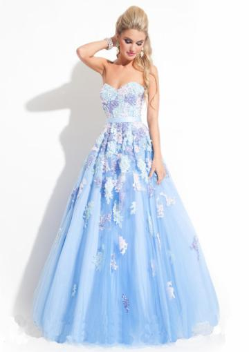 Wedding - Sweetheart Champagne Crystals Sleeveless Blue Zipper Tulle Appliques Floor Length Ball Gown