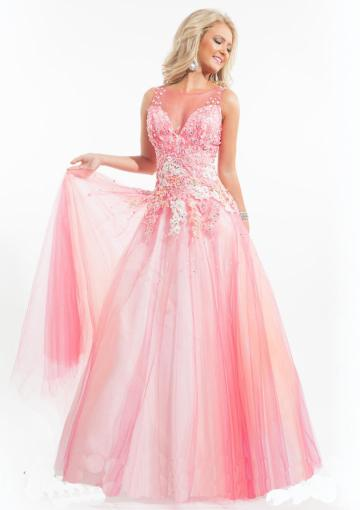 Wedding - V-back Pink Blue Sleeveless Crystals Tulle Appliques Scoop Floor Length