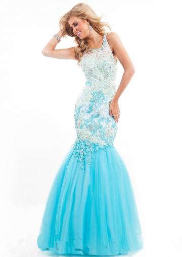 Wedding - Appliques Pink Blue Crystals Tulle Sleeveless Straps Floor Length Mermaid