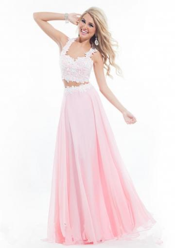 Mariage - Appliques Ruched Pink Yellow Straps Sleeveless Floor Length Zipper Chiffon