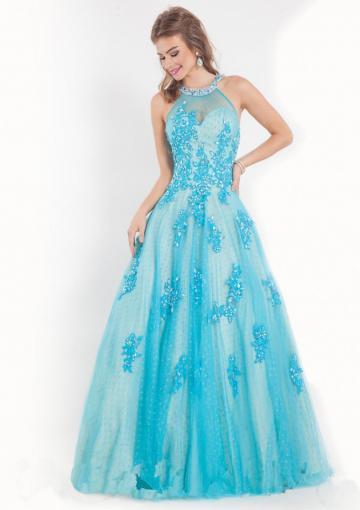 Wedding - Sleeveless Appliques Crystals Tulle Blue Fuchsia Halter Floor Length