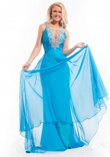 Wedding - Crystals Chiffon Scoop Ruched Sleeveless Floor Length