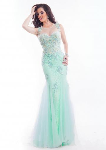 Свадьба - Appliques Blue Green Scoop Tulle Sleeveless Crystals Floor Length Mermaid